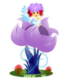 Flower fairy. Cute flower fairy sitting on flower isolated on white Stock Photo