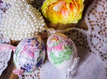 Flower fairy Easteregg wood background Royalty Free Stock Photos