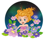 A flower fairy. Illustration of a flower fairy on a white background Stock Photography