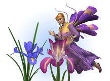 Flower Fairy with Irises. 3D render of a flower fairy flying near some irises Royalty Free Stock Photos