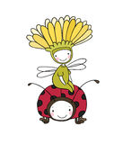 Flower fairy and a ladybug. Royalty Free Stock Photography