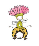 Flower fairy and a ladybug. Stock Photo