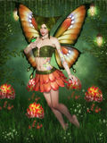 Flower Fairy. Is looking at a butterfly on his hand Royalty Free Stock Photography
