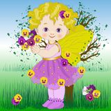 Flower fairy the pansy. Illustration of a little girl dressed as the flower fairy of pansies Royalty Free Stock Image