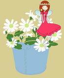 Flower fairy or princess. Flower fairy sit on the flower Royalty Free Stock Photos