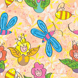 Flower Fairy Seamless Pattern_eps. Illustration of design cartoon flower fairy call the bees and butterflies come here seamless pattern Stock Image