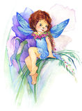 Flower Fairy. watercolor drawing Stock Photos