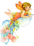 Flower Fairy. watercolor drawing Royalty Free Stock Photography