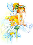 Flower Fairy. watercolor drawing. Cute girl. flower Fairy and flower background. watercolor drawing Royalty Free Stock Photo