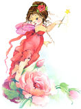 Flower Fairy. watercolor drawing. Cute girl. flower Fairy and flower background. watercolor drawing Royalty Free Stock Image