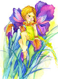 Flower Fairy. watercolor drawing. Cute girl. flower Fairy and flower background. watercolor drawing Stock Photography