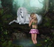 Flower Fairy with White Unicorn stock illustration