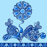 Flower fancy pattern blue. Flower fancy pattern, abstract design ornament floral motifs Royalty Free Stock Photography