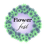 Flower fest. Flower frame with the text flower fest written inside the frame Royalty Free Stock Photo