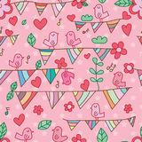 Flower festival bird song seamless pattern. This illustration is design and drawing abstract lucky bird singing the song celebrating with love flower, leaf Stock Photography