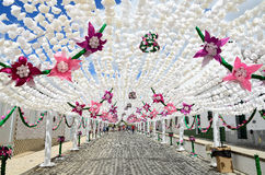 Flower Festival (festas do povo, Campo Maior 2015, Portugal). Flower Festival (festas do povo, Campo Maior 2015). Many streets of the historic centre are coated Royalty Free Stock Photography