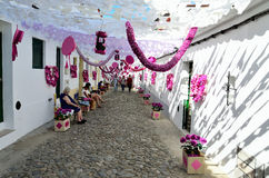Flower Festival (festas do povo, Campo Maior 2015, Portugal). Flower Festival (festas do povo, Campo Maior 2015). Many streets of the historic centre are coated Royalty Free Stock Photos