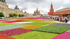 Flower Festival in Red Square in Moscow stock photo