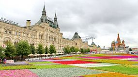 Flower Festival in Red Square in Moscow Stock Photos