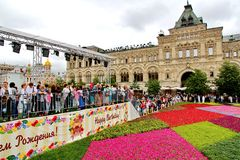 Flower Festival in Red Square in Moscow Stock Images