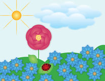 Flower field. An illustration with flower field and shiny sun Stock Images