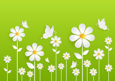 Flower field with summer season and green background. Paper art style Stock Images