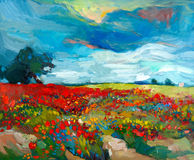 Flower fields. Original oil painting of  fields  of flowers on canvas.Country landscape.Modern Impressionism Stock Photos