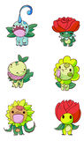 Flower figures. Cartoon style figures with flower and leaf design Stock Image