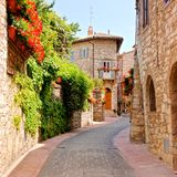 Flower filled Italian lane Stock Images