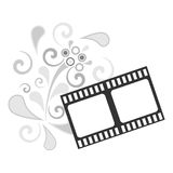 Flower and film. Illustration of a film on the background of a beautiful flower pattern Royalty Free Stock Photo