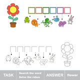 FLOWER. Find hidden word. Task and answer Royalty Free Stock Images