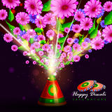 Flower fire cracker for safe Happy Diwali background. Easy to edit vector illustration of flower fire cracker for safe Happy Diwali holiday background Royalty Free Stock Photos