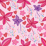 Flower firework drop seamless pattern. This illustration is design and drawing abstract flower freedom fly drop the firework love in pink color background and Stock Photos
