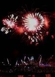 Flower Fireworks Over the Cincinnati Skyline Stock Images