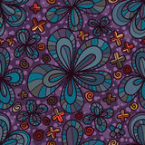 Flower five petal seamless pattern. This illustration is drawing flowers petal with vintage purple and orange colors seamless pattern Royalty Free Stock Photo