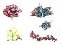 Flower flash tattoo set. Colored Flower Tattoo royalty free illustration