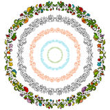 Flower Floral Circle Set Stock Photography