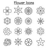 Flower, Floral  icon set in thin line style Royalty Free Stock Photography
