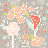 Flower or Floral and leaf pattern seamless fabric Royalty Free Stock Photography