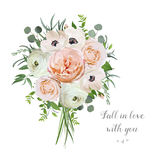 Flower floral vector bouquet of garden pink Rose Anemone Ranuncu Royalty Free Stock Photo