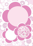 Flower Flowers_eps. Illustration of pink flower inside pink flowers on pink background. Pink and white circle is your text or image Stock Images