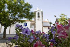 Flower focus, church unfocused Stock Photography
