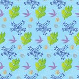 Flower, Foliage and Birds Seamless Pattern Stock Photos