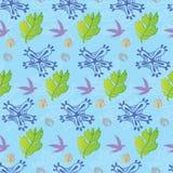 Flower, Foliage and Birds Seamless Pattern Stock Photos