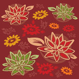 Flower and Foliage Pattern - Lotus Flower / Coral Stock Photo