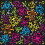 Flower and Foliage Pattern - Primary Colors Stock Image