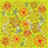 Flower and Foliage Pattern - Red and Green Colors Royalty Free Stock Image