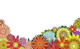 Flower foreground. Editable vector foreground of various colorful flowers stock illustration