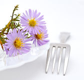 Flower and fork Royalty Free Stock Photography