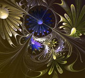 Flower fractal. Blue, brown and gray palette. Royalty Free Stock Image